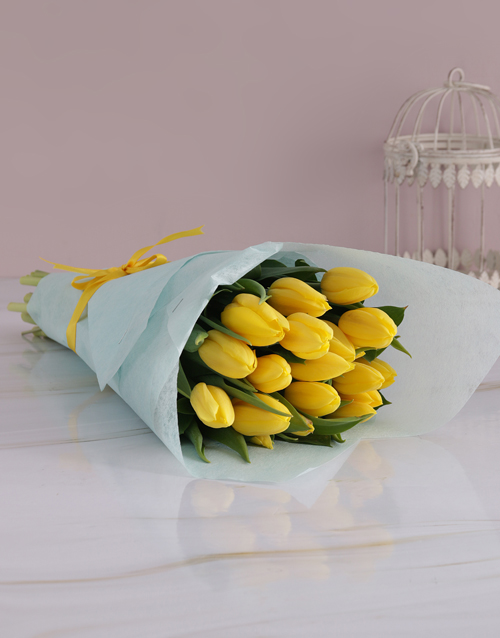 get-well: Elegant Yellow Tulip Bouquet!