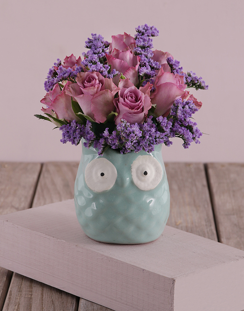 birthday: Lilac Roses in a Mint Owl!
