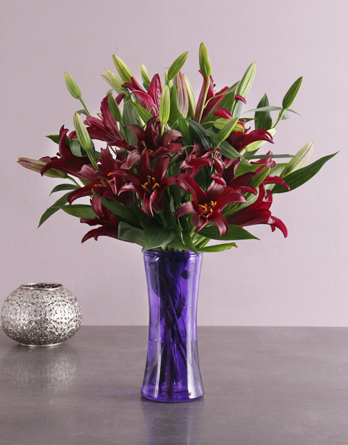 vase: Purple Flair Lily Blossoms!