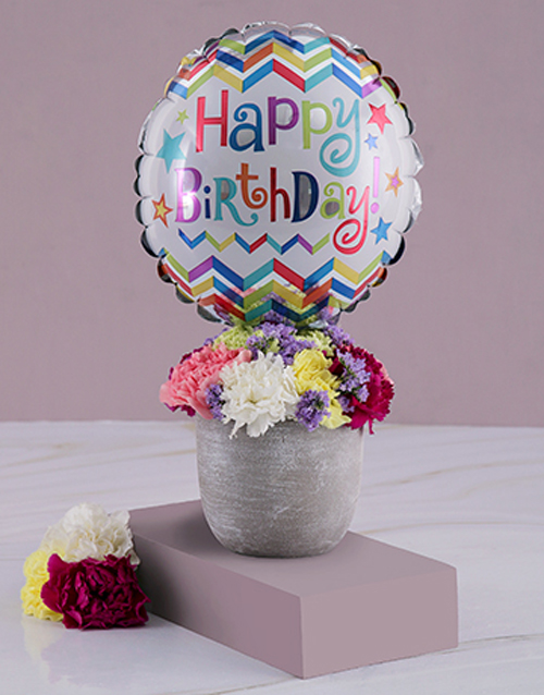 colour: Birthday Balloon And Arrangement In A Pot!
