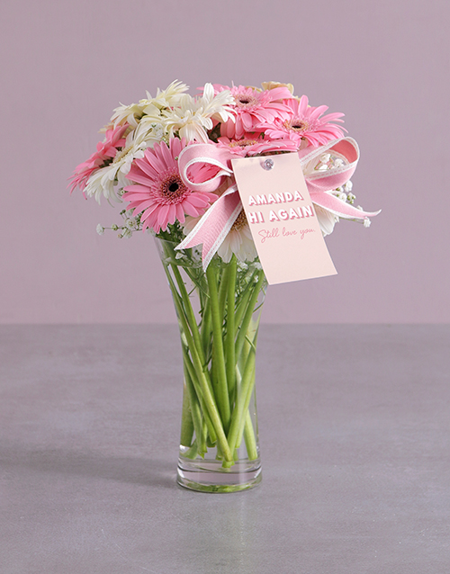 personalised: Personalised Hi Again Gerberas in Vase!