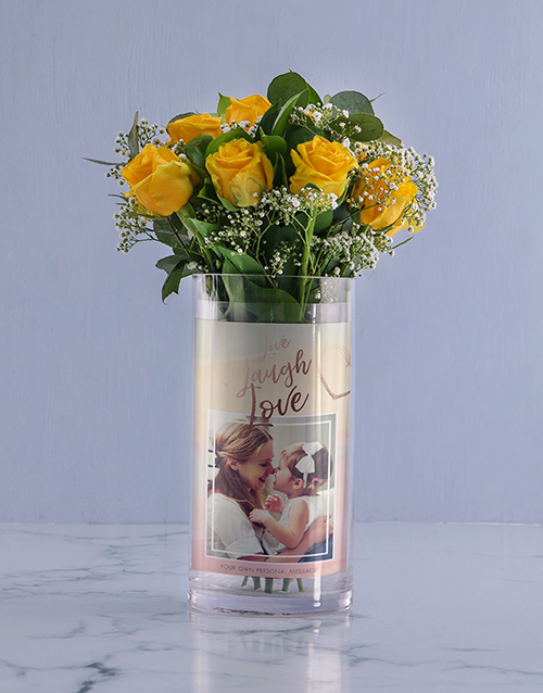 grandparents-day: Personalised Live And Laugh Roses Photo Vase!
