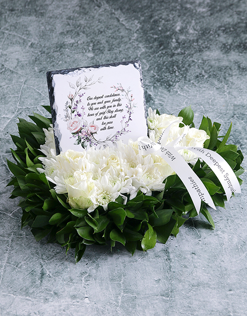 colour: White Rose Sympathy Heart And Slate!