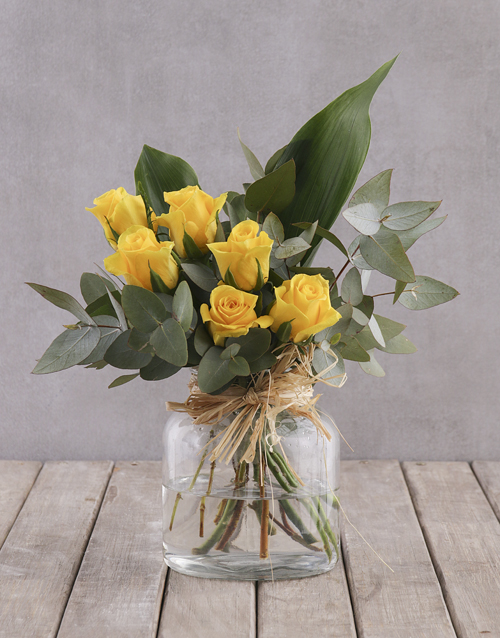 colour: Yellow Rose and Greenery Arrangement!