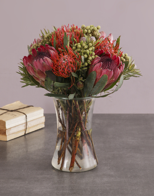 vase: Protea Fantasia In A Glass Vase!