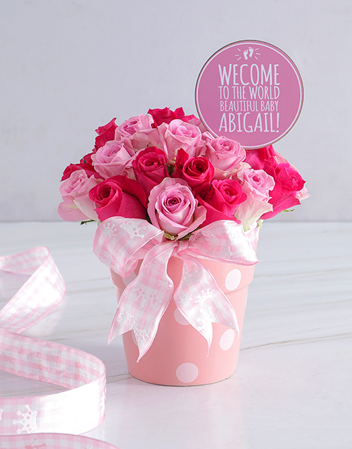 personalised: Personalised Baby Girl Pink Floral Pot!