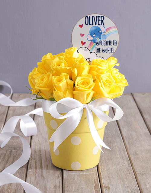 personalised: Personalised New Baby Yellow Floral Pot!