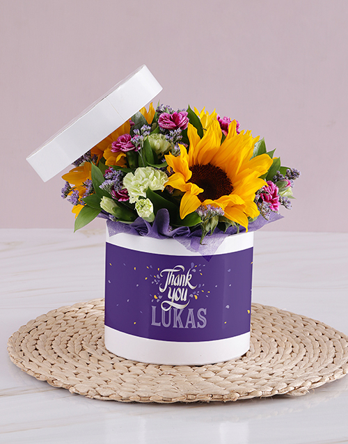 colour: Personalised Thank You Sunflower Box!