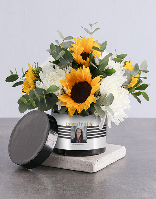 personalised: Personalised Congrats Sunflower Arrangement!
