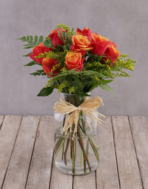 roses: Charming Cherry Brandy Rose Arrangement!