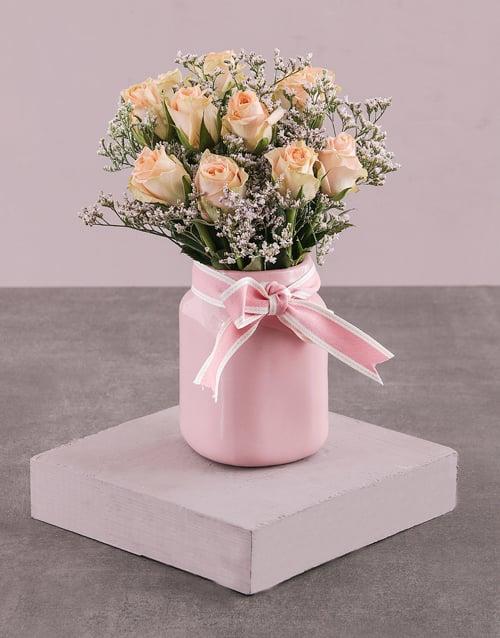 roses: Peach Roses in Pink Consol Jar!