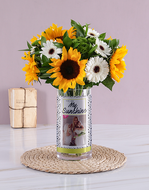 personalised: Personalised My Sunshine Yellow Florals Photo Vase!