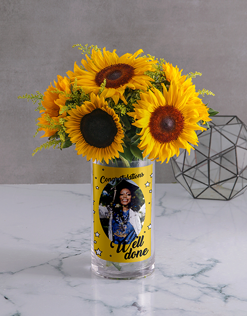 personalised: Personalised Well Done Flowers Photo Vase!