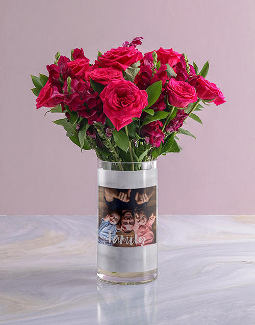 personalised: Personalised Family Rose Bunch Photo Vase!