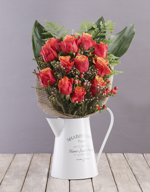 birthday: Cherry Brandy Roses in Metal Jug!