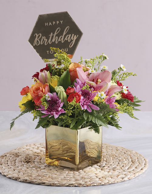 flowers: Mixed Blossoms In A Golden Vase!