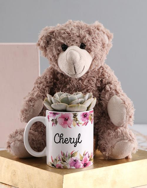 sympathy: Personalised Succulent Teddy Mug!