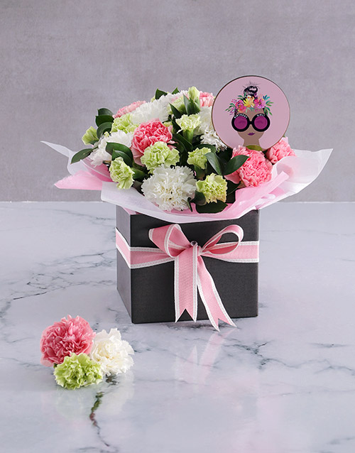 in-a-box: Striking Pink Carnation Arrangement!