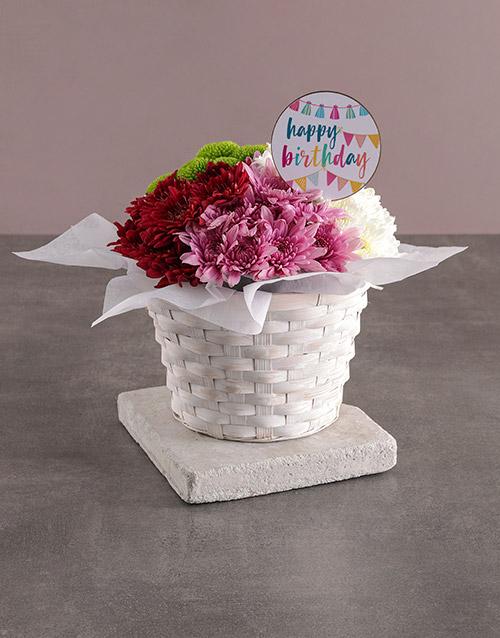 colour: Happy Birthday Sprays In Basket!