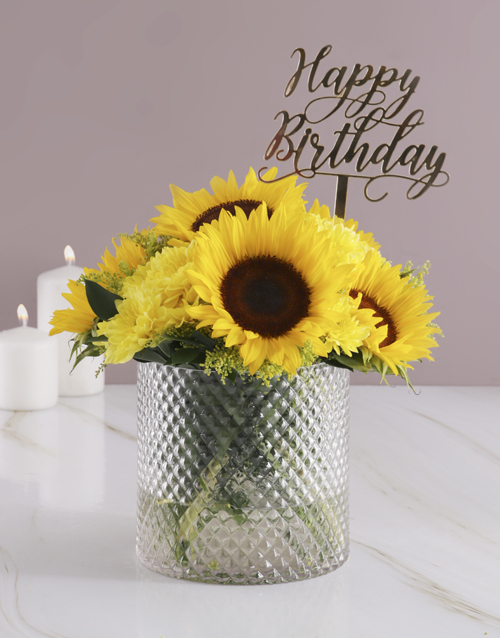 anniversary: Sunflowers in Diamond Vase!