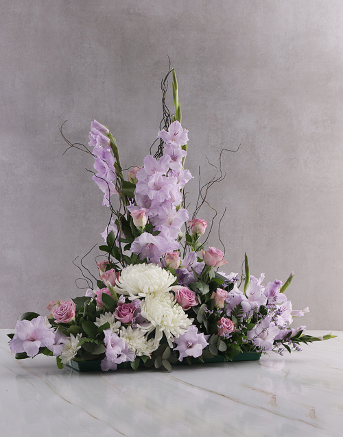 seasonal: Purple Gladioli High Design Ikebana Arrangement!