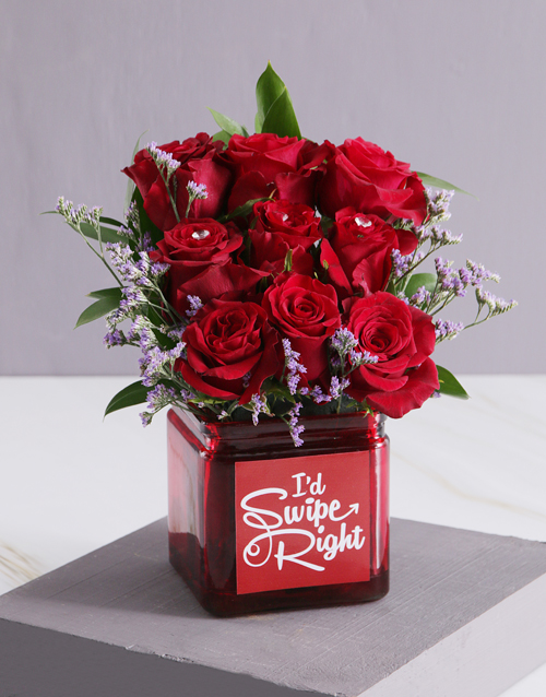 anniversary: Red Blooms in Swipe Right Vase!