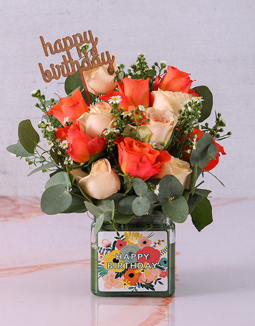 colour: Bright Birthday Rose Blooms in a Vase!