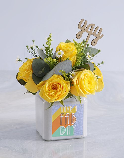 birthday: Blissful Yellow Roses in a Vase!