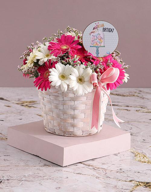 gerbera-daisies: Basket of Birthday Gerberas!