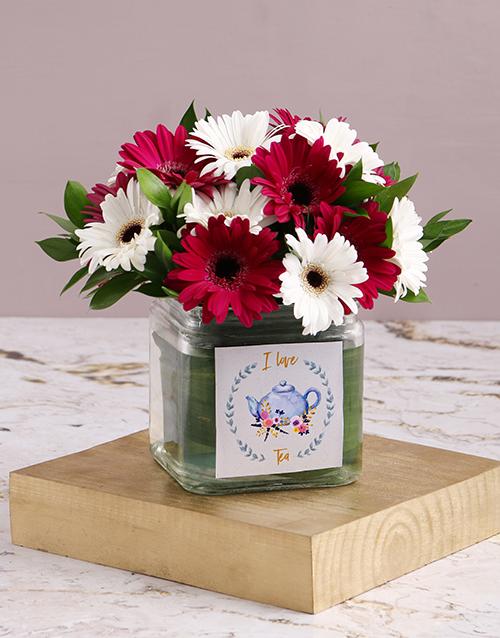 vase: Mini Gerberas In Square Vase!