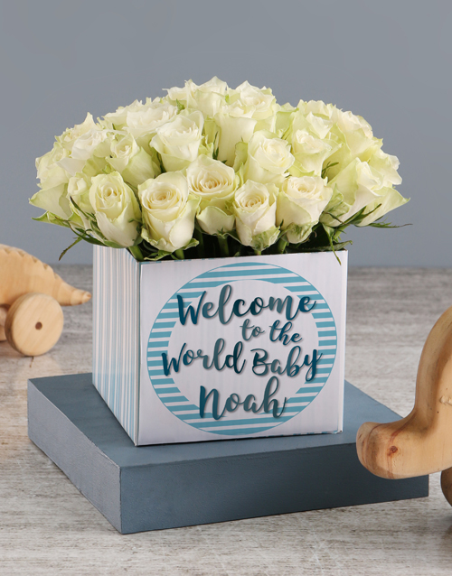 baby: Welcome Baby Boy Roses In Occasions Box!