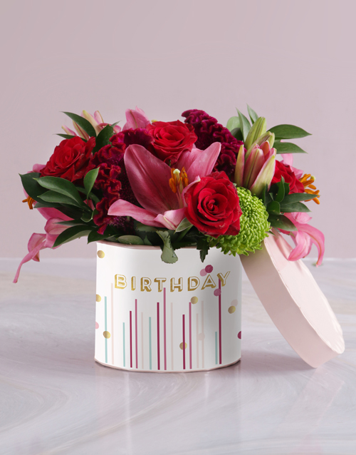 personalised: Glorious Mixed Flowers Hat Box!