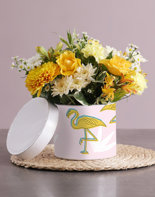 personalised: Golden Dreams Mixed Flowers Hat Box!