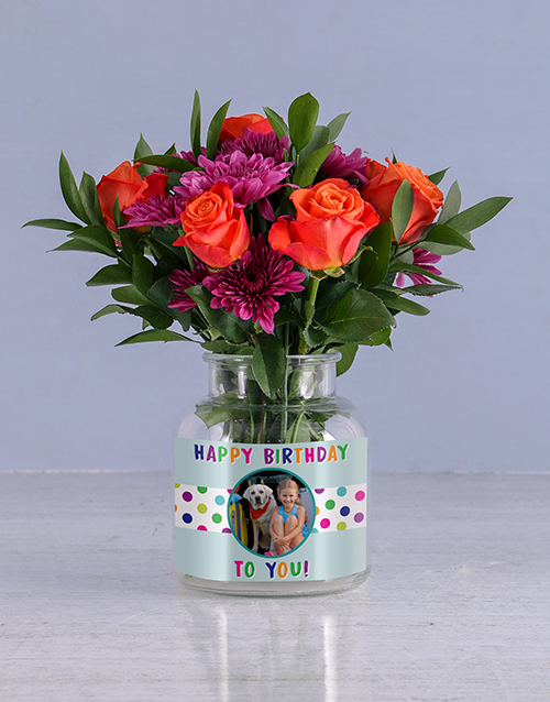 personalised: Happy Birthday Orange Roses!