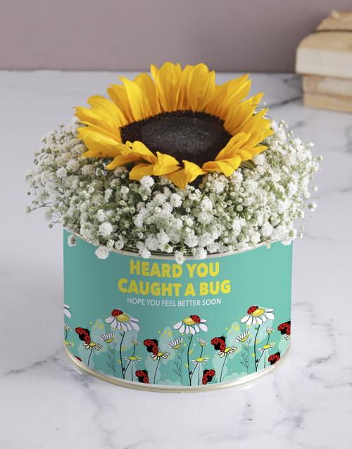 get-well: Caught A Bug Sunflower Tin!