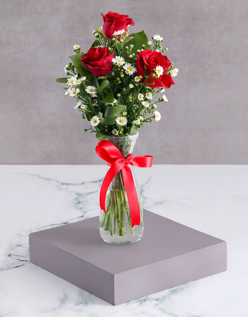 vase: Satin Red Rose Arrangement!