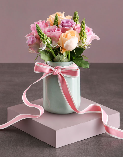 roses: Pastel Rose Delight Arrangement!