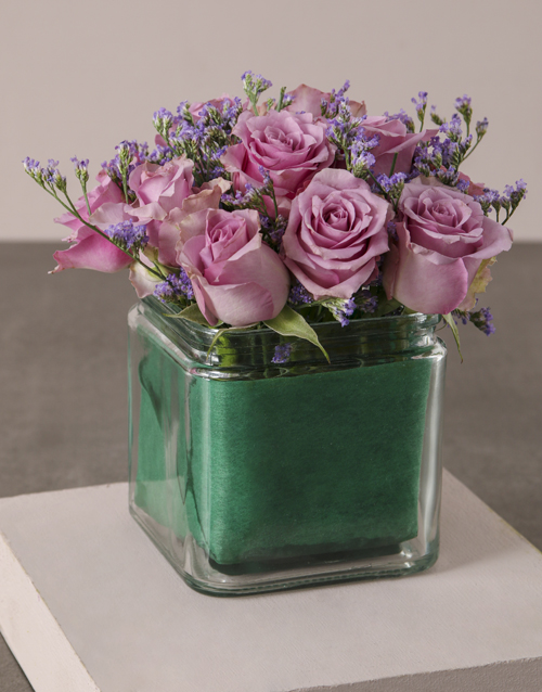 colour: Lilac Roses In Purple Square Vase!