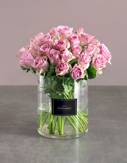roses: Lilac Roses In Clear Cylinder Vase!