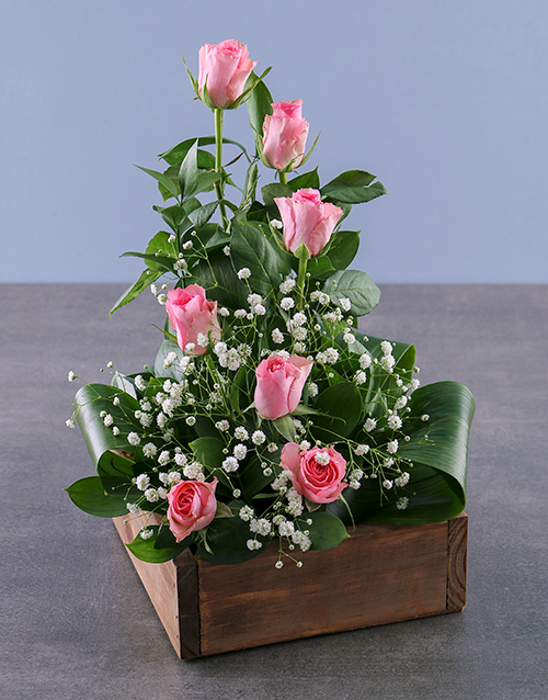 anniversary: Pink Rose Arrangement In Wooden Container Gift!