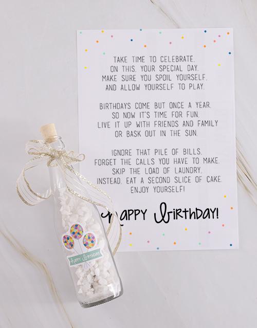 flowers: Happy Birthday Message In A Bottle!