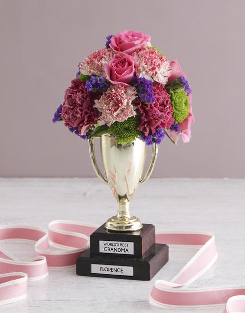 colour: Personalised Best Grandma Trophy Arrangement!