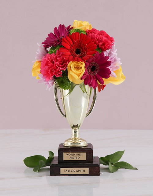 trophy: Personalised Best Sister Trophy Arrangement!