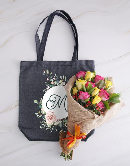 personalised: Personalised Monogram Denim Tote With Roses!