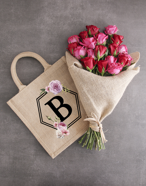 personalised: Personalised Octagon Initial Tote With Roses!