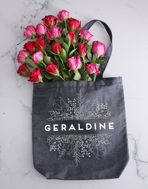 personalised: Personalised Botanical Denim Tote With Roses!