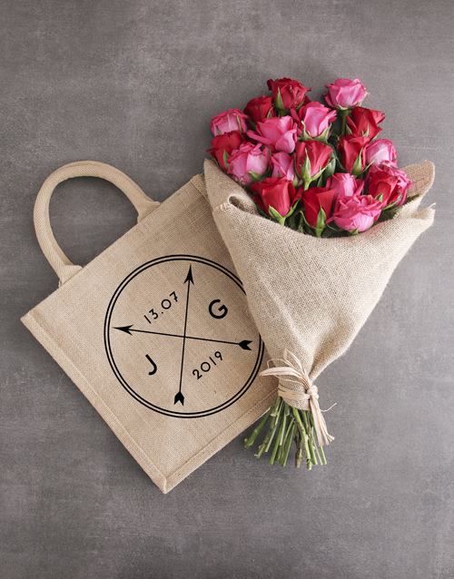 flowers: Personalised Anniversary Tote With Roses!