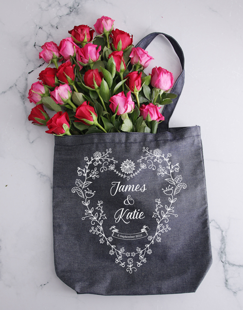 personalised: Personalised Couples Denim Tote With Roses!