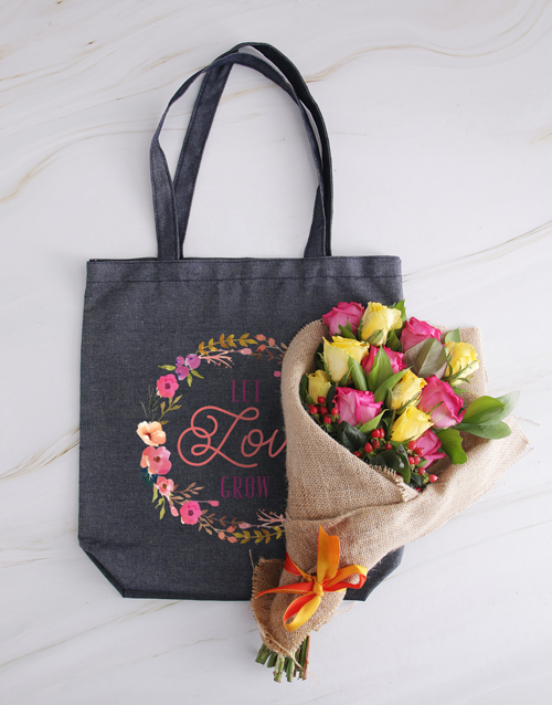 anniversary: Let Love Grow Roses In A Denim Tote!