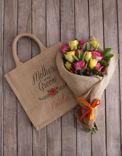 personalised: Personalised Mom Of The Groom Roses In A Tote!